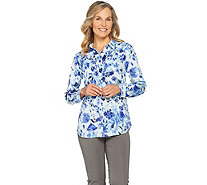 Isaac Mizrahi Live! Woven Button Front Tunic Blouse with Pockets - A286134