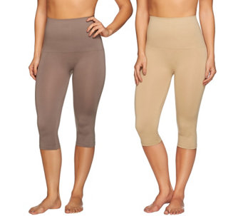 """As Is"" Airbrusher by Women with Control Shaping Capri Set of 2 - A287734"