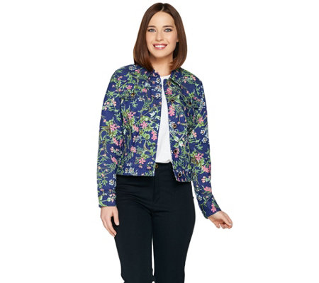 C. Wonder Botanical Floral Print Denim Jean Jacket