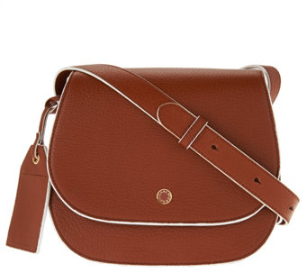 """As Is"" Isaac Mizrahi Live! Nolita Pebble Leather Saddle Handbag - A288934"