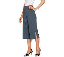 Susan Graver Textured Liquid Knit Wide Leg Capri Pants - A289434