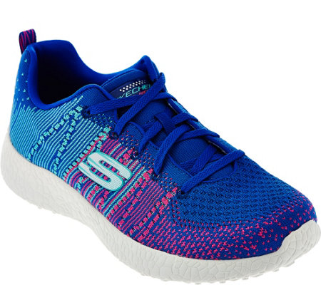 """As Is"" Skechers Flat Knit Lace-up Sneakers - Burst Ellipse"