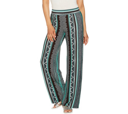 Attitudes by Renee Petite Pull-On Printed Wide Leg Pants