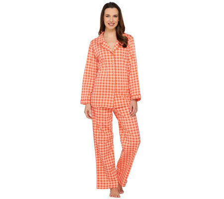 """As Is"" Isaac Mizrahi Live! Gingham Print Pajama Set"