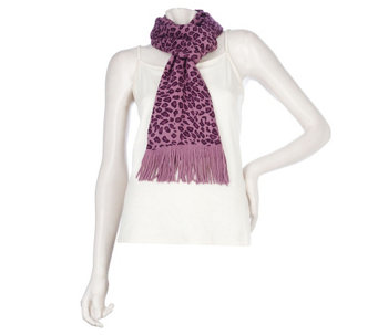 """As Is"" Amiee Lynn Leopard Print Acrylic Knit Scarf with Fringe - A291334"
