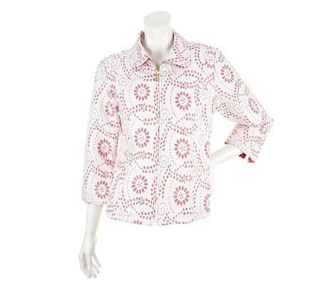 """As Is"" Bob Mackie's Eyelet Design Cotton Jacquard 3/4 Slv Jacket"