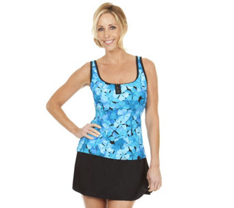 """As Is"" Ocean Dream Signature Pretty Petals Scoop Neck Tankini Top - A292134"