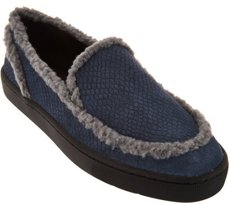 """As Is"" LOGO by Lori Goldstein Slip On Loafers with Shearling Trim"