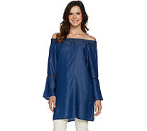 Du Jour Off the Shoulder Tencel Denim Tunic - A293734