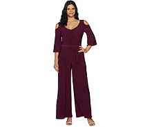 Attitudes by Renee Tall Cold Shoulder Flutter Sleeve Knit Jumpsuit - A294134
