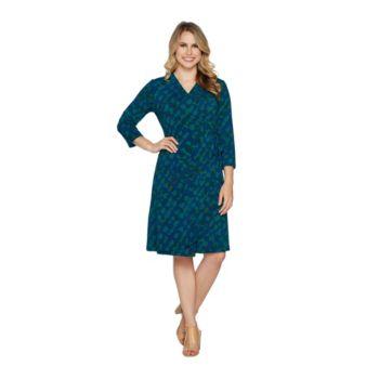 H by Halston Regular 3/4 Sleeve Printed Wrap Dress