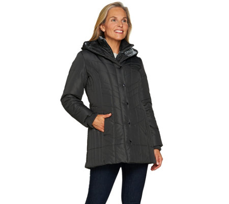 """As Is"" Susan Graver Quilted Jacket with Velvet Placket"