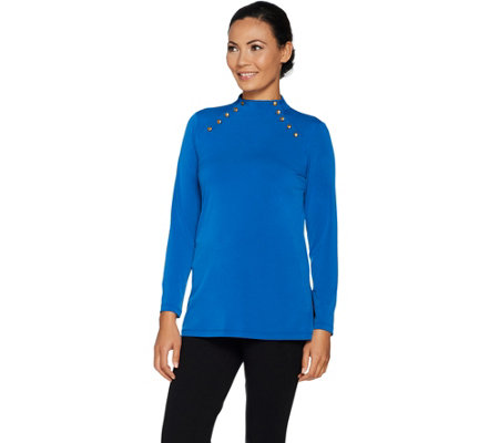 Susan Graver Liquid Knit Tunic with Button Detail