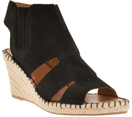"""As Is"" Franco Sarto Leather Cut-out Espadrille Wedges-Nola"