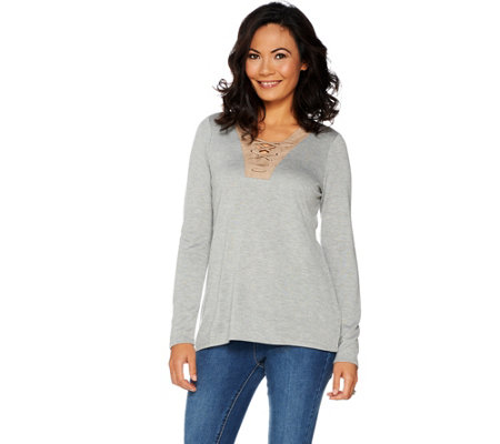 Kelly by Clinton Kelly Long Sleeve Top w/ Faux Suede Lace-Up Detail