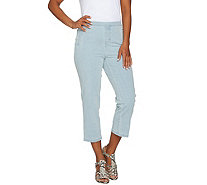 """As Is"" Isaac Mizrahi Live! Regular 24/7 Denim Pull-On Crop Jeans - A300434"