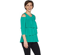 Every Day By Susan Graver Liquid Knit Cold Shoulder Tiered Top - A301134