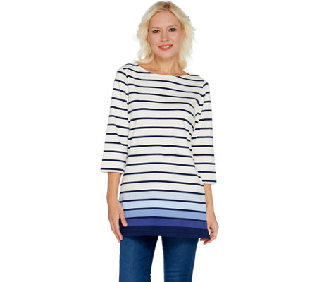 Denim & Co. Regular Perfect Jersey Ombre Stripe 3/4 Sleeve Tunic