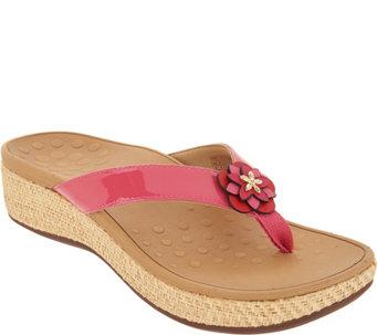 Vionic Embellished Leather Thong Sandals - Mimi - A305634