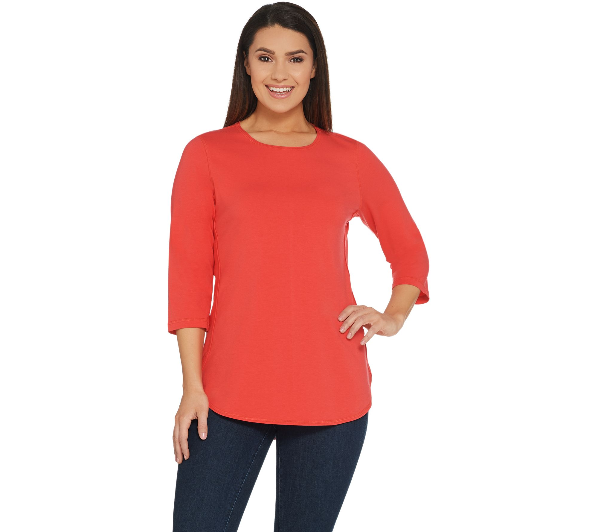 Denim & Co. Active 3/4-Sleeve Knit Top Back Keyhole - A307534