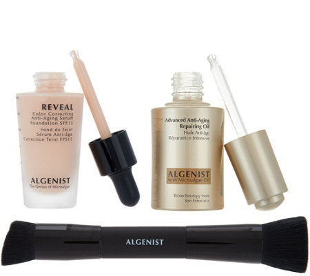 Algenist Anti-Aging MicroAlgae Oil & Foundation with Brush