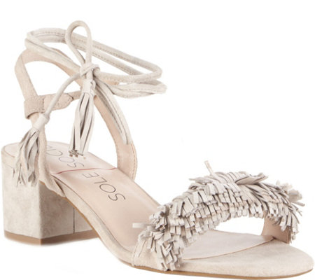 Sole Society Fringe Strap Heeled Sandals - Sera
