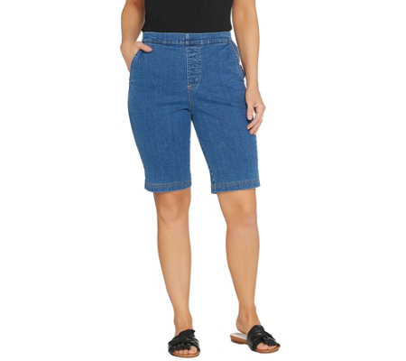 "Denim & Co. ""How Timeless"" Stretch Flat Front Jean Shorts"