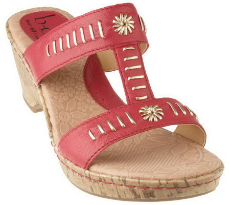 B.O.C. by Born Naiomi Leather Metalli T-Strap Wedge Sandals