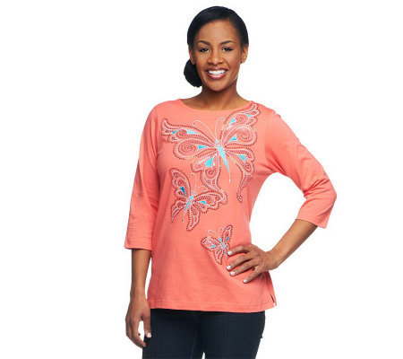 Bob Mackie's 3/4 Sleeve Embellished Papillon Pullover Tee