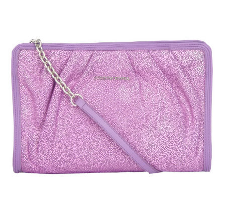 "Judith Ripka ""Lenox"" Stingray EmbossedLeather Pleated Clutch"