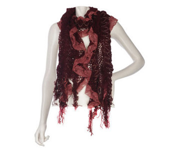 Collection XIIX Ruffle Lace Muffler with Fringe - A217635
