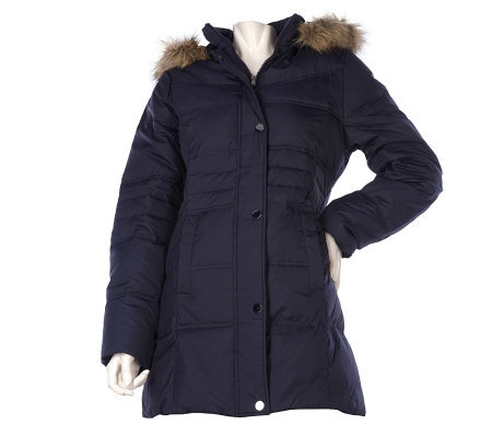 Centigrade Down Walker Coat with Snap Front & Removable Hood