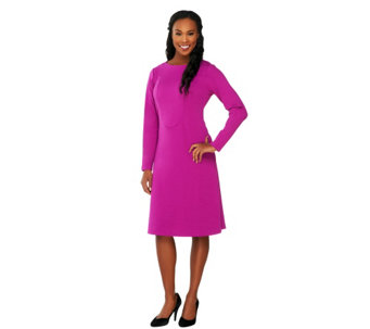 George Simonton Long Sleeve Ponte Knit A-line Dress w/ Seaming Detail - A229335