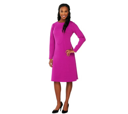 George Simonton Long Sleeve Ponte Knit A-line Dress w/ Seaming Detail