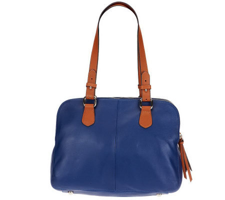 Isaac Mizrahi Live! Bridgehampton Triple Zipper Leather Satchel