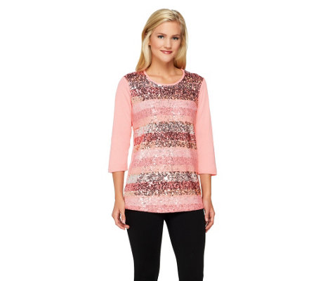 Quacker Factory Sequin and Lace 3/4 Sleeve Knit Top