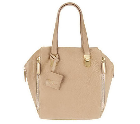 Allibelle Leather Arrowhead Tote with Zipper Detail