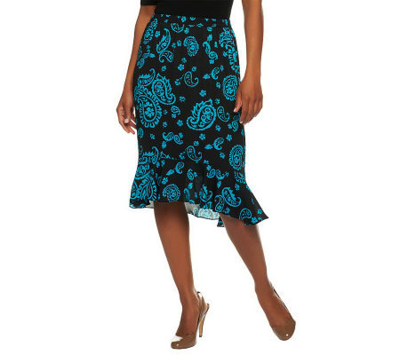 Linea by Louis Dell'Olio Paisley Print Skirt with Hi-Low Hem