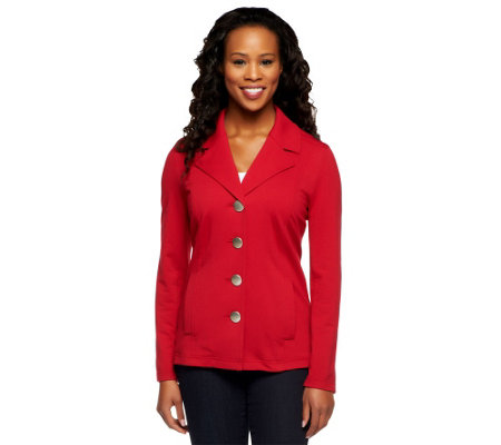 Susan Graver Weekend French Terry Single Breasted Button Front Jacket