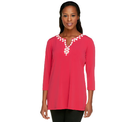 Susan Graver Liquid Knit 3/4 Sleeve Tunic with Embellishments
