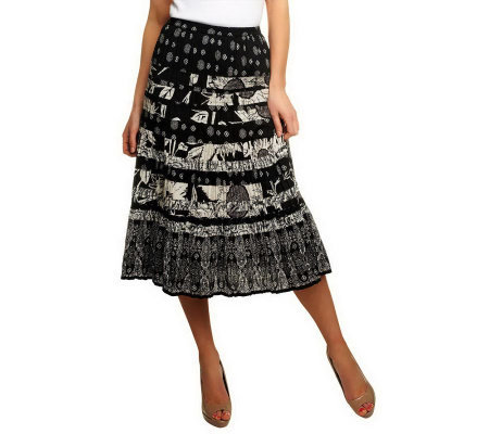 """As Is"" Susan Graver Printed Cotton Broomstick Tiered Skirt"