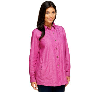 Joan Rivers Regular Denim Boyfriend Shirt with Long Sleeves - A252135