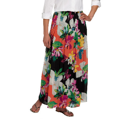 Sunny Leigh Release Pleat Pull-on Maxi Skirt with Lining