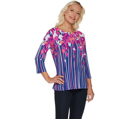 Bob Mackie's Floral Print 3/4 Sleeve Jersey Knit Top