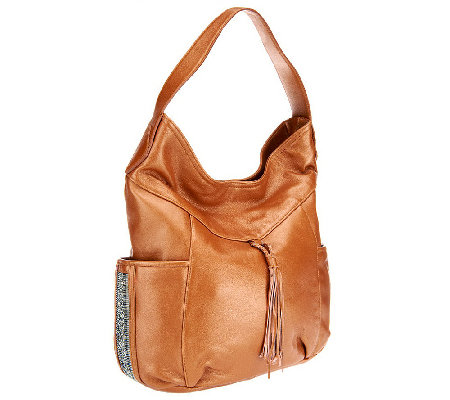 """As Is"" Muxo by Camila Alves Shimmer Leather Hobo Bag"