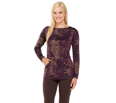 George Simonton Metallic Snake Print Top