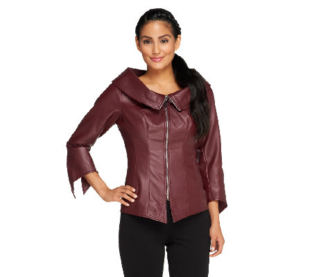 Mark of Style by Mark Zunino Faux Leather Zip Front Jacket