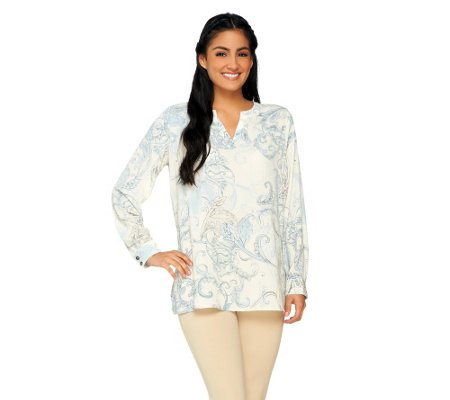 Susan Graver Printed Woven Long Sleeve Split V-Neck Tunic