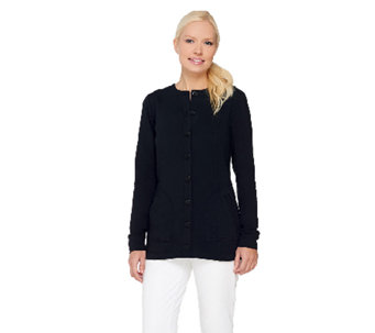 Linea Leisure by Louis Dell'Olio Button Front Knit Jacket - A262035