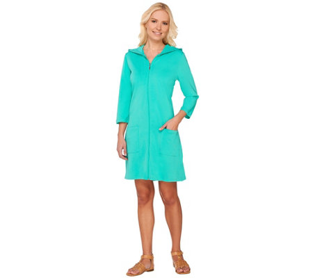 Denim & Co Beach 3/4 Sleeve Zip Front Cover Up w/Hood